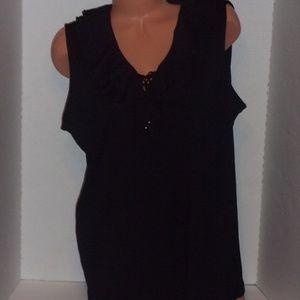 Chaps sleeveless top with ruffle neckline